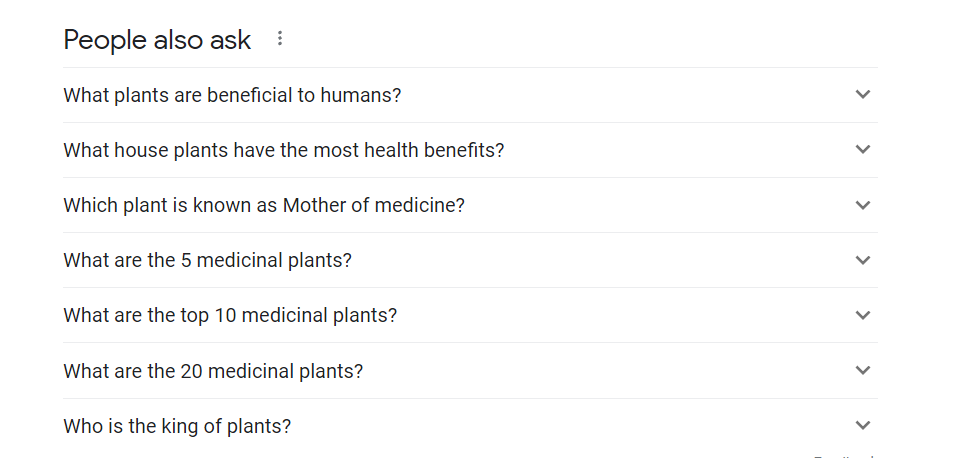People Also Ask Plants